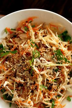 Crunchy Cabbage Salad with Orange-Tahini Dressing | Vegan, dairy free, gluten free, and vegetarian. | Click for healthy recipe. | Via Taste Space