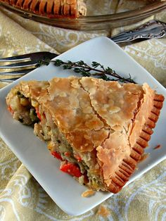 Homemade Chicken Pot Pie ~ buttery, golden flaky crust filled with tender bites of chicken, potatoes, carrots and peas and a creamy, flavorful sauce.