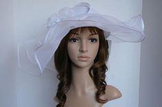 NEW-Church-Kentucky-Derby-Wedding-Poly-braid-Wide-Brim-w-Flower-Dress-Hat-White