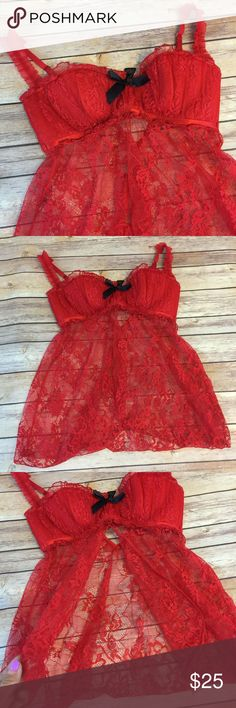 Fredericks of Hollywood red lace lingerie Babydoll New without tags. A to C cup. Frederick's of Hollywood Intimates & Sleepwear Chemises & Slips