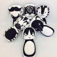 Big 5 Box Set Of Cushions #foxandmoon #oliverthomas #big5 #cushion #nursery #kidsroom #lion #elephant #buffalo #rhino #leopard #zebra #monochrome