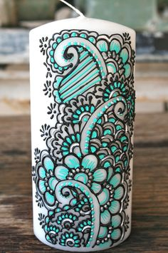 Hand Painted Candle Turqouise Black and Silver