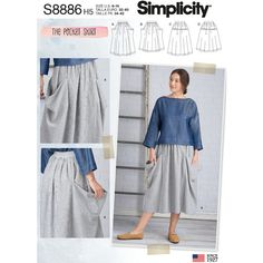 New Sewing Pattern to Make a skirt with big deep pockets , Baggy Simplicity Pattern S8886 10131 Misses Women's Size 6/14 14/22 UNCUT by LanetzLiving on Etsy