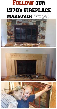 Stage 3 of our fireplace makeover {covering the stone with wood}. A 1970's fireplace gets a facelift!