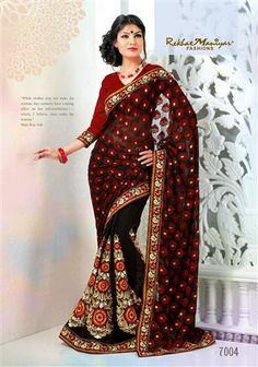 """This saree has an unique and an EVERGREEN combination of """"RED"""" N """"BLACK"""". The pallu is accompanied by rich foil impression on the red brasso . the skirt is of black georgette material that is accompanied by red and white viscose threads which Is thereafter accompanied by zari . the overall look of the saree gives an unique and charming look to every woman wearing it. *Blouse included (Unstiched)."""