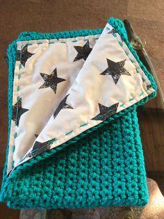 Fabric lined, Crochet pram blanket :)