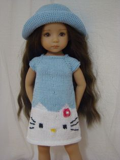 """Blue Hello Kitty Summer Outfit for Dianna Effner Little Darling 13"""" 