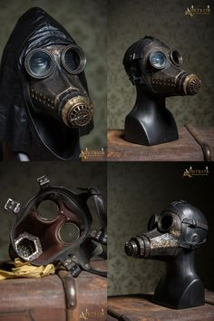 Custom made Steampunk / Dieselpunk leather Gasmask