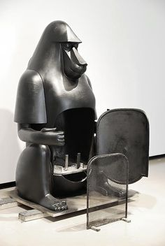 The cast iron Babouin from 1973 is a working fireplace hidden in the belly of a baboon.-François-Xavier Lalanne. / Pinterest
