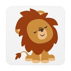 Cute Cartoon Lions Cute peaceful cartoon lion                              …