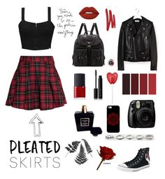 """Black & Red"" by rockiesleppie ❤ liked on Polyvore featuring H&M, Yves Saint Laurent, Prada, NARS Cosmetics, Element, Lime Crime, Chanel, Illamasqua, Full Tilt and Casetify"