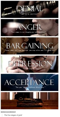 the five 5 stages of grief ~ River Song ~ Doctor Who Doctor Who, Eleventh Doctor, Trauma, Oki Doki, The Maxx, Stages Of Grief, Don't Blink, Torchwood, Time Lords