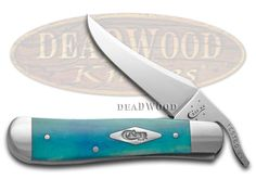 CASE XX Painted Desert Caribbean Blue Bone Russlock 1/500 Stainless Pocket Knife Knives