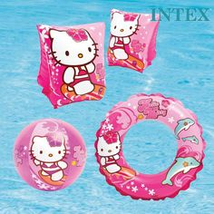 INTEX HELLO KITTY SWIMMING INFLATABLES SWIM RING DONUT ARM BANDS BEACH BALL GIRL in Collectables, Animation, Japanese/Anime   eBay