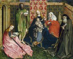 Vierge à l'Enfant avec des saintes dans un jardin clos. Atelier de Robert Campin dit le Maître de Flémalle
