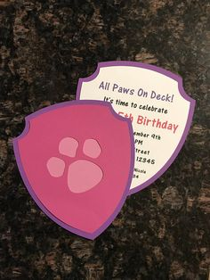 Paw Patrol Party Invitation Pack of 12 Pink/Purple or