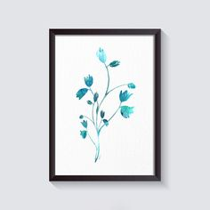 Turquoise Flower Watercolor art wall art Abstract by ArtistiCorner