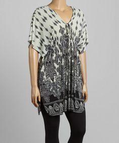 Love this Black Fleur-de-Lis V-Neck Tunic - Plus by Life and Style Fashions on #zulily! #zulilyfinds