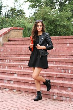 Fall fashion. Love to rock a leather jacket with any dress and boots!!