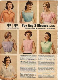 Sweetly sorbet hued, timelessly pretty summer top and blouse styles from 1961. #shirt #top #blouse #vintage #retro #fashion #1960s