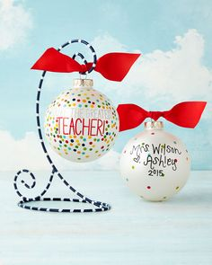 You\'re The Greatest Teacher Christmas Ornament by Coton Colors at Neiman Marcus. Teacher Gift Baskets, Thank You Teacher Gifts, Teacher Christmas Gifts, Teacher Appreciation Gifts, Holiday Fun, Christmas Holidays, Music Christmas Ornaments, Teacher Ornaments, Christmas Decorations To Make