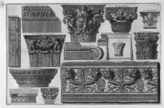 Rome, Capitals and a frieze of roman villas by Giovanni Battista Piranesi