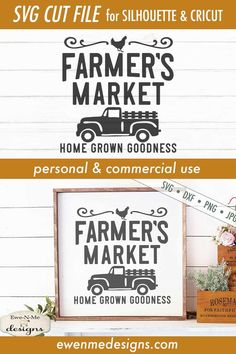 Farmers Market Logo, Diy Signs, Wood Signs, How To Make Signs, Wood Burning Patterns, Cricut Creations, Vintage Crafts, Craft Business, Old Trucks