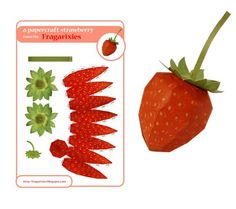 Just in time for strawberry season, fill a bowl with paper strawberries. 3d Paper Crafts, Paper Toys, Diy Crafts, Handmade Crafts, Deco Fruit, Paper Fruit, 3d Templates, Papercraft Download, Diy Papier
