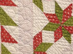 "19th c. quilt, small stars with sawtooth border. 70"" x 73""."