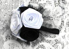 Fabric Flower Bridal Bouquet Custom Roses Satin by AfternoonDelite, $35.00