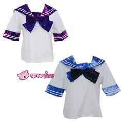 Blue/Purple Galaxy Stars Sailor Seifuku Short Sleeve Shirt Top only SP130145