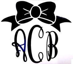 Script Fancy Bow Initial Monogram Cup Car Window Vinyl Decal Sticker 12 COLORS #VinylDecalSticker