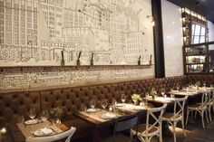 1 color mural for a restaurant by James Hancock in the meat packing district of New York called Willow Road Restaurant New York, Cafe Restaurant, Wall Shelves Design, Wall Design, Gray Bathroom Walls, Ipad Air Wallpaper, Flower Texture, New York Food, Wall Paper Phone