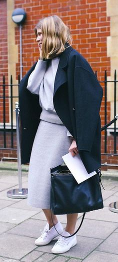 Lavender outfit with a black overcoat and Superga sneakers