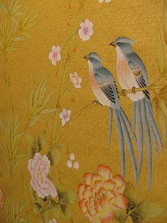 Handpainted chinoiserie wallpaper.