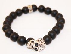 Astoria Couture - King Baby/10mm Onyx Bead Bracelet W/ Day Of The Dead Skull, $289.00 (http://www.astoriacouture.com/king-baby-10mm-onyx-bead-bracelet-w-day-of-the-dead-skull/)