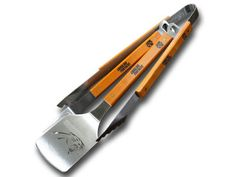 Carolina Panthers 3-Piece Sets include The Sportula, Tongs, and Fork and all are made of heavy duty stainless steel and hard maple handles,
