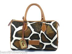 Dooney Bourke Giraffe Natural Brown Animal Print Classic Barrel Satchel-  THIS IS THE ONE I WANT
