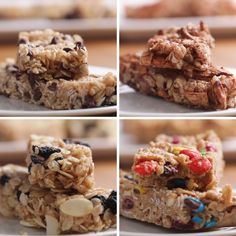Recipes Snacks Videos Homemade Chewy Granola Bars 4 Ways Breakfast Recipes, Snack Recipes, Dessert Recipes, Cooking Recipes, Breakfast Ideas, Breakfast Cookies, Breakfast Healthy, Easy Cooking, Homemade Breakfast Bars