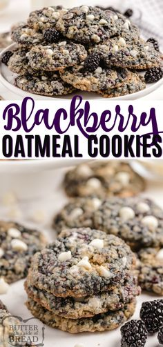 Blackberry Oatmeal Cookies are delicious! Adding fresh blackberries to a soft and chewy oatmeal cookie recipe takes these cookies to the next level! Oatmeal Cookie Recipes, Delicious Cookie Recipes, Best Cookie Recipes, Oatmeal Cookies, Fruit Recipes, Desert Recipes, Baking Recipes, Blackberry Recipes, Kid Recipes