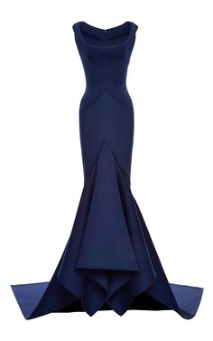 Zac Posen Solid Neoprene Flared Gown by Zac Posen for Preorder on Moda Operandi