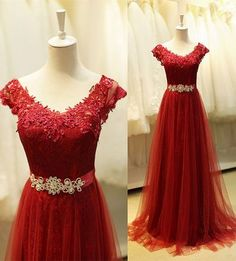 A-line Tulle Long Prom Dress With Applique,2017 Wedding Party Dress,Bridesmaid Dress