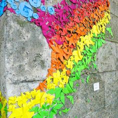 Rainbow Origami Street Art by Mademoiselle Maurice. The kids love origami. This could be a class sculpture project. Rainbow Origami, Rainbow Paper, Rainbow Art, Mademoiselle Maurice, Art Origami, Origami Shapes, Geometric Origami, Geometric Shapes, Street Art Graffiti