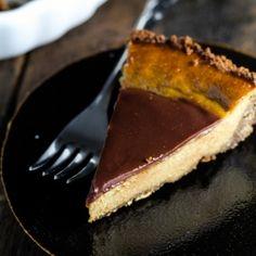 Pumpkin pie gets an update with a gingersnap crust and milk chocolate ganache.