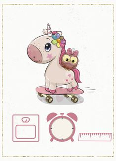 Baby Animal Drawings, Cute Drawings, Minnie Mouse Nursery, Baby Canvas, Baby Girl Quotes, Baby Posters, Unicorn Pictures, Baby Frame, First Birthday Photos
