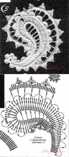 "Подборка ИК № №16... ""Турецки огурец"" или пейсли.. Crochet Paisley, Irish Crochet Patterns, Crochet Diagram, Freeform Crochet, Crochet Chart, Crochet Designs, Crochet Flowers, Crochet Lace, Doilies Crochet"
