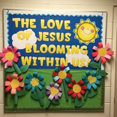 Christian spring time bulletin board. My grade twos loved making the flowers!