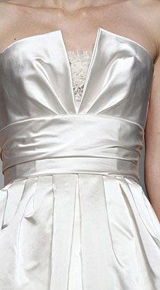 Close up detail of Amsale silk satin wedding gown