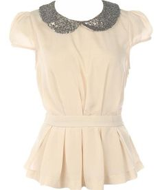 Sequin Collar Top: Features a glittering sequin-embellished peter pan collar framed by adorable cap sleeves, nipped and neat waistband, texture-lending pleats surrounding the lower portion, and rear keyhole closure to finish.