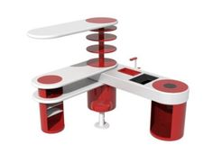 This compact unit consists of a sink, a cooktop, a storage system, a stool, a table, and a desk, acting as either cooking equipment or working equipment. It not only presents the luxury of two furniture units in the space of one, but can be easily adjusted to fit in any residence, thanks to its rotary design.